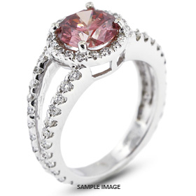 14k White Gold Halo Engagement Ring 3.17 carat total Pink-SI1 Round Brilliant Diamond