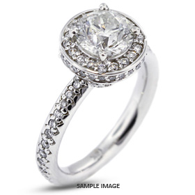 14k White Gold Halo Engagement Ring 3.21 carat total D-VS2 Round Brilliant Diamond