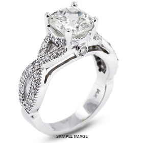14k White Gold Engagement Ring 2.62 carat total G-SI2 Square Cushion Cut Diamond