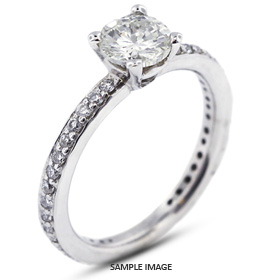 14k White Gold Engagement Ring 1.76 carat total D-SI1 Round Brilliant Diamond