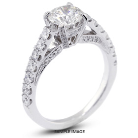 18k White Gold Vintage Engagement Ring 3.85 carat total I-SI1 Round Brilliant Diamond