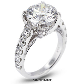 18k White Gold Engagement Ring 6.08 carat total F-I1 Round Brilliant Diamond