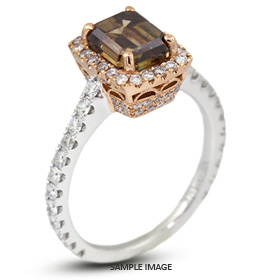 18k Two Tone Gold Vintage Halo Engagement Ring Setting with Diamonds (2.05ct. tw.)