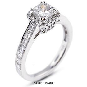18k White Gold Vintage Halo Engagement Ring 2.91 carat total G-VS1 Princess Cut Diamond