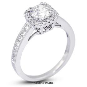18k White Gold Vintage Halo Engagement Ring 2.04 carat total E-SI1 Round Brilliant Diamond