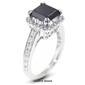 18k White Gold Vintage Halo Engagement Ring 1.60 carat total Black Round Brilliant Diamond