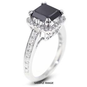 18k White Gold Vintage Halo Engagement Ring 1.60 carat total Black Round Brilliant Diamond