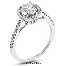 18k White Gold Halo Engagement Ring 2.51 carat total H-VS2 Round Brilliant Diamond