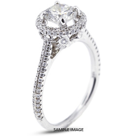 18k White Gold Halo Engagement Ring 1.87 carat total G-VS2 Round Brilliant Diamond