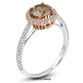 18k Two Tone Gold Halo Engagement Ring Setting with Diamonds (1.28ct. tw.)