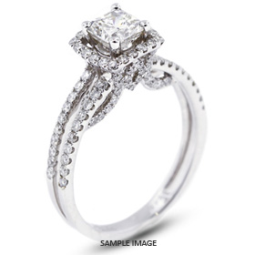 18k White Gold Halo Engagement Ring 2.18 carat total E-SI1 Square Radiant Cut Diamond