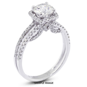 18k White Gold Halo Engagement Ring 2.34 carat total D-VS1 Round Brilliant Diamond