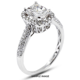 18k White Gold Vintage Halo Engagement Ring 1.43 carat total F-SI2 Rectangular Radiant Cut Diamond