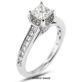 18k White Gold Engagement Ring 3.31 carat total F-VS2 Square Radiant Cut Diamond