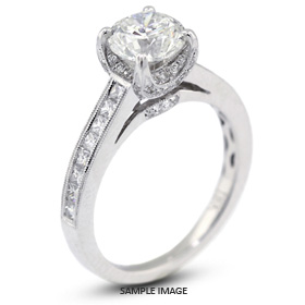 18k White Gold Vintage Engagement Ring 2.22 carat total J-VS2 Round Brilliant Diamond