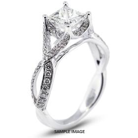 18k White Gold Vintage Engagement Ring 1.82 carat total H-VS2 Princess Cut Diamond