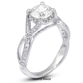 18k White Gold Vintage Engagement Ring 1.83 carat total G-VS1 Round Brilliant Diamond