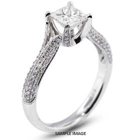 18k White Gold Engagement Ring 1.68 carat total D-SI2 Square Radiant Cut Diamond