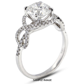 18k White Gold Engagement Ring 2.22 carat total D-SI3 Round Brilliant Diamond