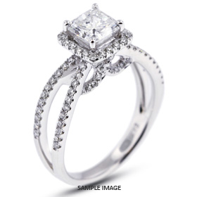 18k White Gold Halo Engagement Ring Setting with Diamonds (1.41ct. tw.)