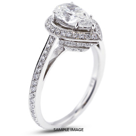 18k White Gold Halo Engagement Ring 2.51 carat total D-SI1 Pear Shape Diamond