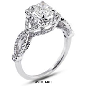 18k White Gold Halo Engagement Ring 2.49 carat total D-VS2 Rectangular Radiant Cut Diamond