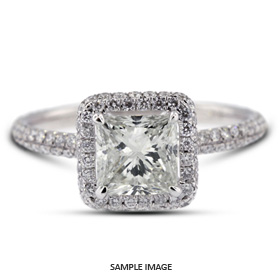 79f5b4763 18k White Gold Halo Engagement Ring 1.84 carat total E-VS2 Princess Cut  from Tiffany Jones Designs