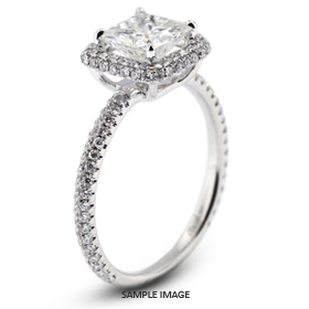 18k White Gold Halo Engagement Ring 2.02 carat total G-VS1 Princess Cut Diamond