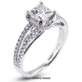 18k White Gold Engagement Ring 1.88 carat total E-VS2 Square Radiant Cut Diamond