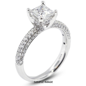 18k White Gold Engagement Ring 2.31 carat total F-VS1 Princess Cut Diamond
