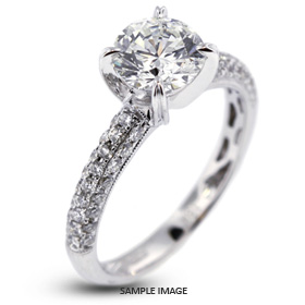 18k White Gold Engagement Ring 2.95 carat total D-SI1 Round Brilliant Diamond