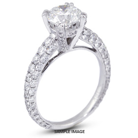 18k White Gold Engagement Ring 4.34 carat total D-IF Round Brilliant Diamond