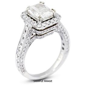 18k White Gold Vintage Halo Engagement Ring 4.33 carat total H-VS2 Rectangular Radiant Cut Diamond
