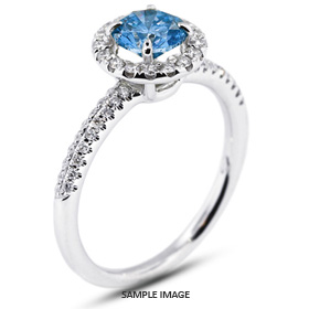 18k White Gold Halo Engagement Ring 1.40 carat total Blue-SI2 Round Brilliant Diamond