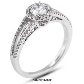 18k White Gold Halo Engagement Ring 1.16 carat total E-VS2 Round Brilliant Diamond