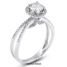 18k White Gold Halo Engagement Ring 1.31 carat total F-SI2 Round Brilliant Diamond