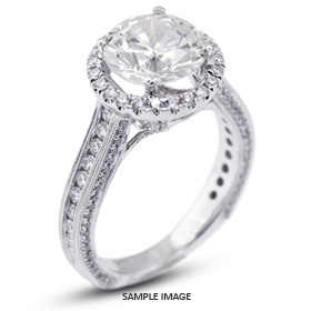 18k White Gold Halo Engagement Ring 4.01 carat total E-SI1 Round Brilliant Diamond