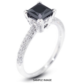 18k White Gold Engagement Ring 1.95 carat total Black Princess Cut Diamond