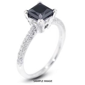 18k White Gold Engagement Ring 1.95 carat total Black Princess Cut Diamond