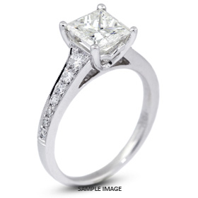 18k White Gold Engagement Ring 1.64 carat total H-VS2 Princess Cut Diamond