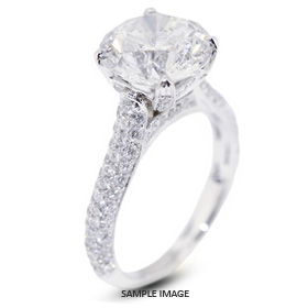 18k White Gold Engagement Ring 3.97 carat total D-SI3 Round Brilliant Diamond