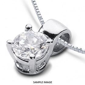 14k White Gold Classic Style Solitaire Pendant 0.51 carat D-SI1 Round Brilliant Diamond