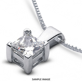 14k White Gold Classic Style Solitaire Pendant 2.11 carat D-VS1 Princess Cut Diamond