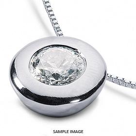 14k White Gold Solid Style Solitaire Pendant 0.62 carat D-VS2 Round Brilliant Diamond