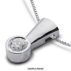 14k White Gold Solid Style Solitaire Pendant 0.81 carat D-SI1 Round Brilliant Diamond
