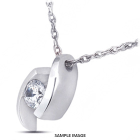 14k White Gold Tension Style Solitaire Pendant 1.01 carat D-SI1 Round Brilliant Diamond