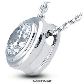 14k White Gold Solid Style Solitaire Pendant 0.91 carat G-VS1 Round Brilliant Diamond