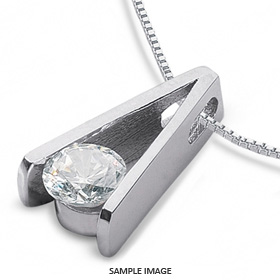 14k White Gold Tension Style Solitaire Pendant 0.58 carat F-SI1 Round Brilliant Diamond