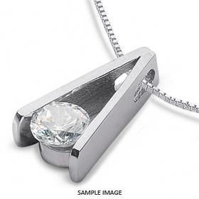 14k White Gold Tension Style Solitaire Pendant 0.58 carat F-SI1 Round Brilliant Diamond