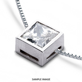 14k White Gold Solid Style Solitaire Pendant 1.74 carat F-VS2 Princess Cut Diamond
